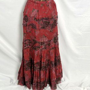 Solitaire Boho Maxi Skirt Small 4/6 Floral Tier S